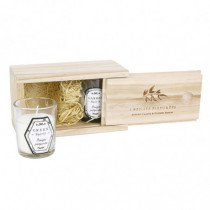 Caja madera regalo con 2 vela