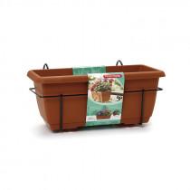 Jardinera imitación terracota con plato y soporte